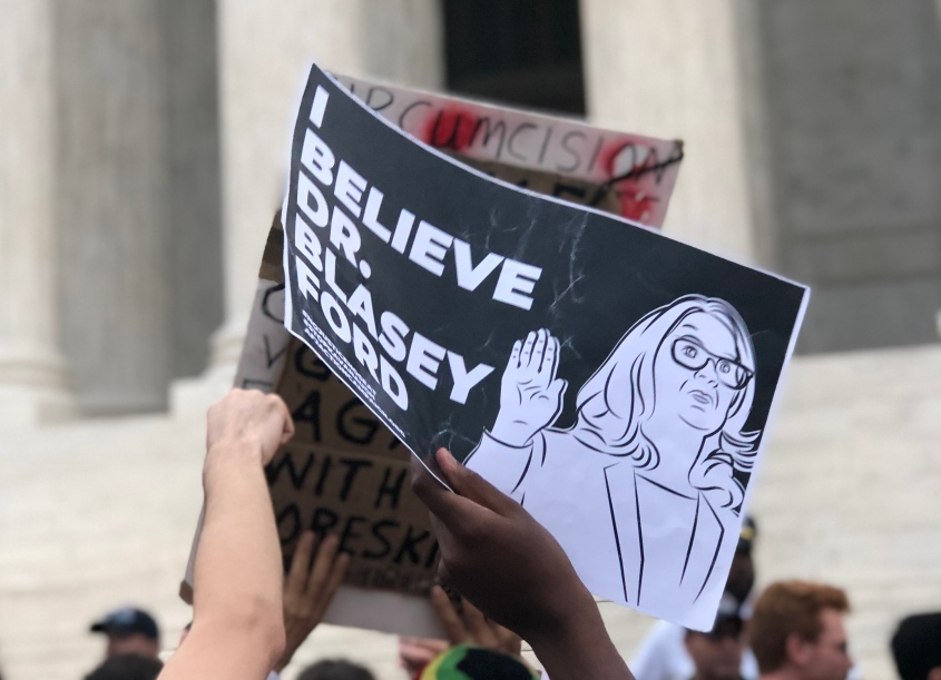 Feminists support alleged sexual assault victim Christine Blasey Ford in protest outside the Supreme Court after Brett Kavanaugh's confirmation